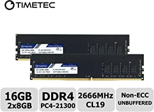 Timetec Hynix IC 16GB Kit (2x8GB) DDR4 2666MHz PC4-21300 Unbuffered Non-ECC 1.2V CL19 1Rx8 Single Rank 288 Pin UDIMM Desktop Memory RAM Module Upgrade (16GB Kit (2x8GB))