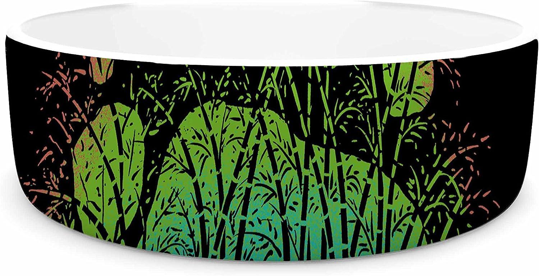 KESS InHouse BarmalisiRTB Panda Track Black Green Digital Pet Bowl, 7  Diameter