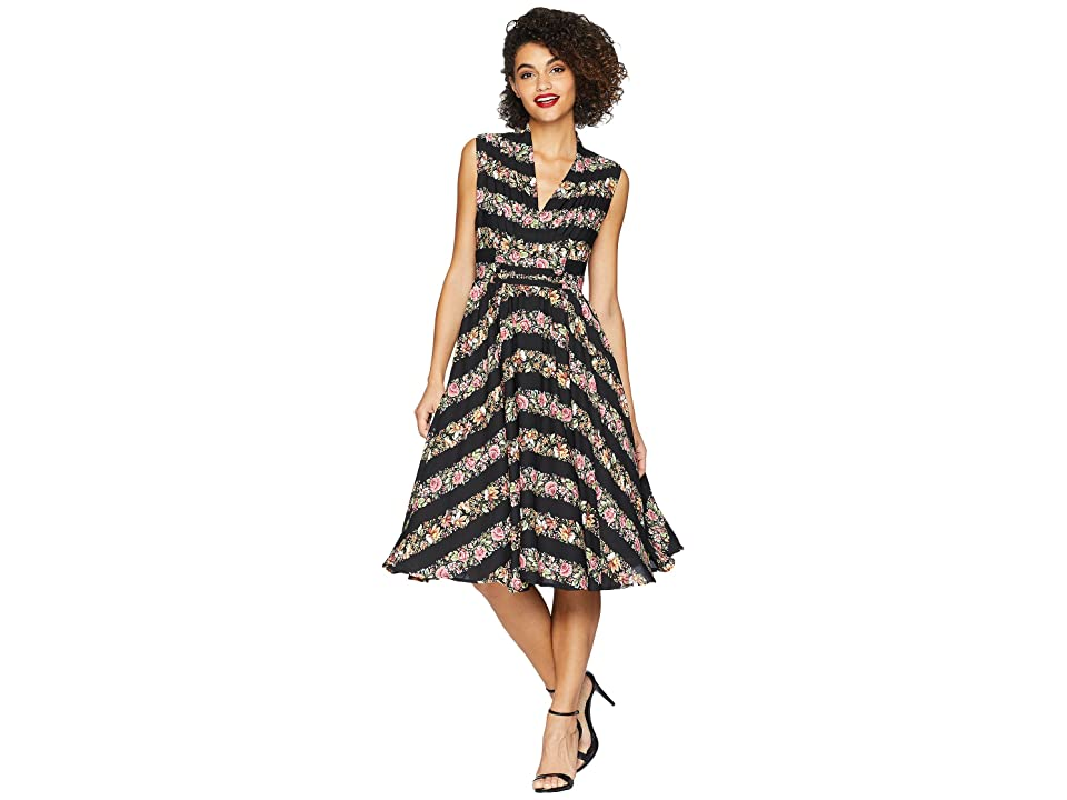 Unique Vintage De Carlo Swing Dress (Black Floral) Women
