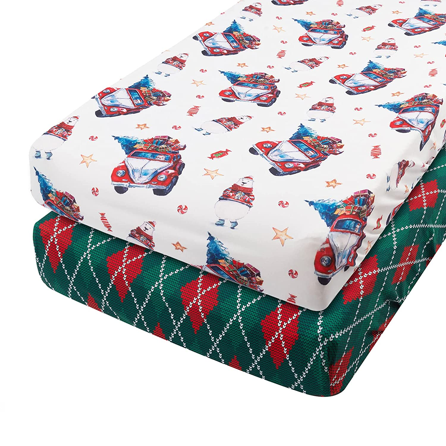 Babygoal Christmas Stretchy Unisex Diaper Changing Covers for Baby Girls and Boys,Soft and Light-Fits Changing Pads and Cradle Mattress 32