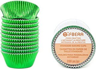 Gifbera Food Grade Standard Green Foil Paper Cupcake Liners Muffin Baking Cups 200-Count (Green)