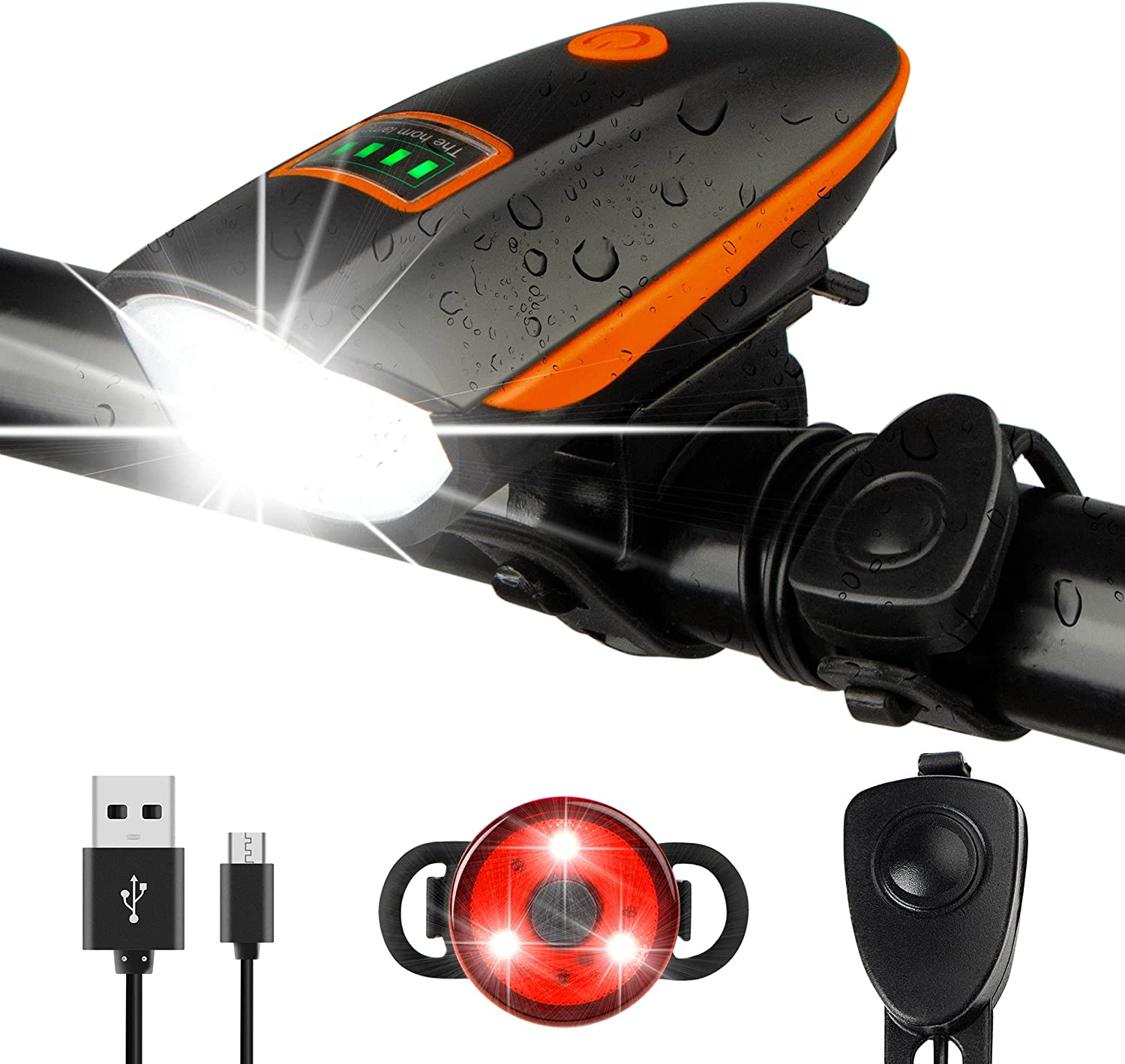 Bike Lights Set with Horn Luxury USB Headli Limited time sale 1400LM Rechargeable Bicycle
