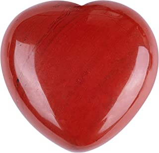 UFEEL Natural Grade AAA Red Jasper Puffy Heart Stone Palm Worry Stone for Chakra Reiki Balancing, Meditation and Decoratio...