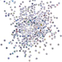 eBoot 100 Gram Stars Confetti Glitter Star Sequins for Crafts DIY Nail Art and Party Decoration, Holographic Silver