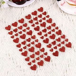 Tomaibaby 3 Sheets Hearts Metallic Stickers Valentines Heart Stickers Diary Sticker Red Glitter Heart Shape Sticker Decora...
