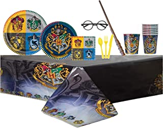 """Harry Potter Complete Birthday Party Pack for 8 Includes 9"""" Dinner Plates, 7"""" Cake Plates, 16 Napkins, Cups, Tablecover & 24pcs assorted Cutlery with Bonus Magic Wand & Glasses Prop"""