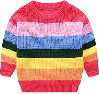 Mud Kingdom Girls Sweaters Cotton Pullover Rainbow Cute