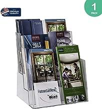 Clear-Ad - Acrylic Rack Card Literature Display Holder - Plastic 3 Tier 6 Pocket Brochure Organizer - Desktop or Wall Mount Leaflet Rack - Tabletop Multiple Pamphlet Stand - LHF-S83 (Pack of 1)