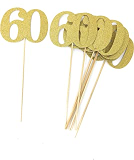 Set of 8 Number 60 Centerpiece Sticks for Anniversary Reunion 60th Birthday (Gold)