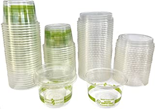 4 Ounce Biodegradable Corn Plastic Cups with Lids - 50 Pack