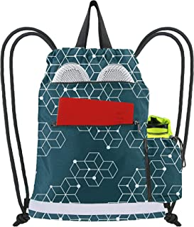 Sponsored Ad - Dark Green Cinch Bag Backpack String Sack w 2 Zipper Front Pockets Gym Sackpack for Men Women w Side Drawst...