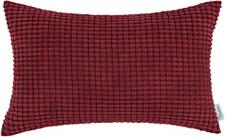CaliTime Cozy Bolster Pillow Cover Case for Couch Sofa Bed Comfortable Supersoft Corduroy Corn Striped Both Sides 12 X 20 ...