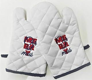 1 par de guantes de horno, soporte para ollas de cocina, gruesas, resistentes al calor, guantes para barbacoa y horno, Azul Navidad, 9