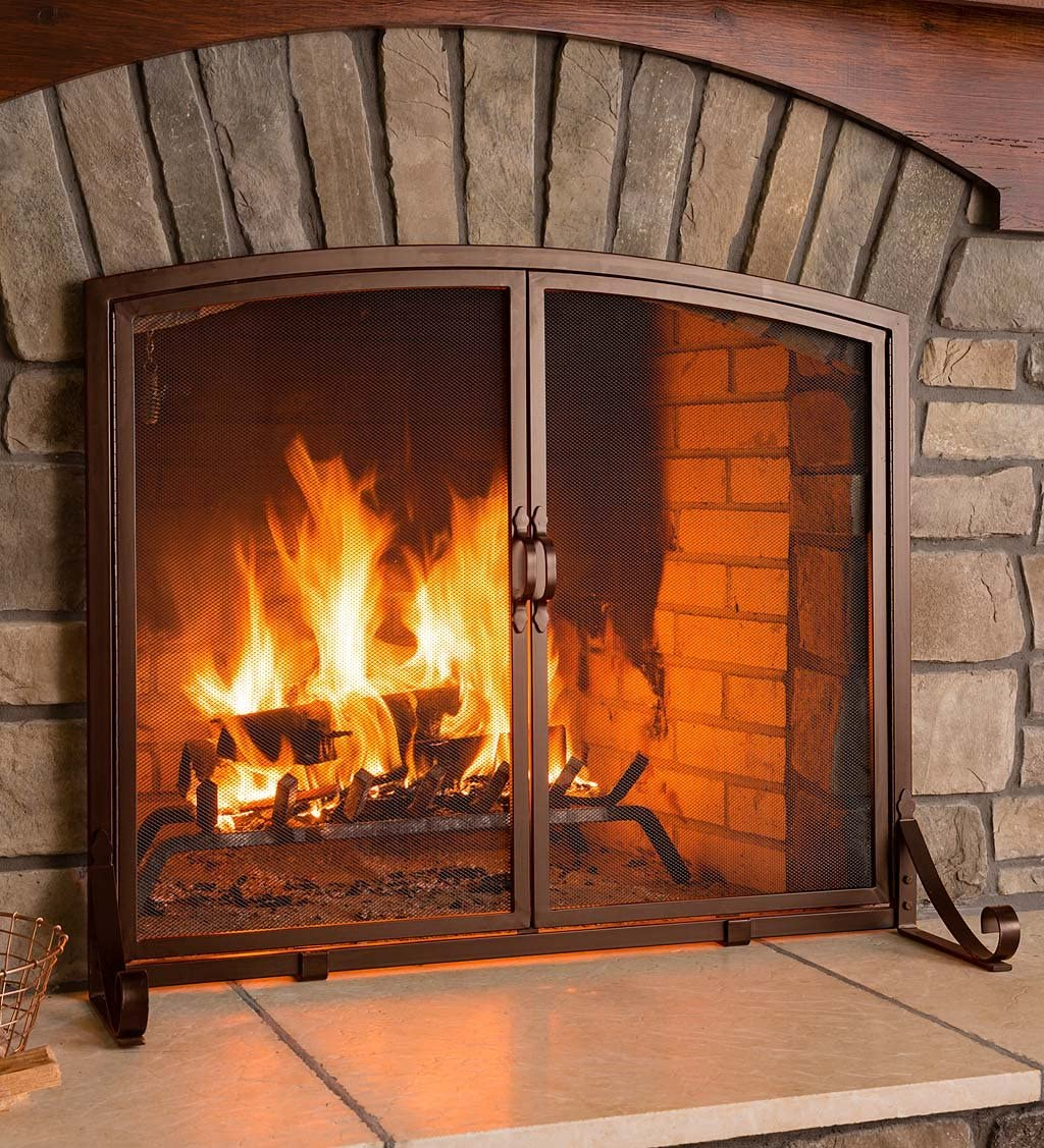 Plow 70% Indianapolis Mall OFF Outlet Hearth Arched Top Flat Screen with Doors Guard Fireplace