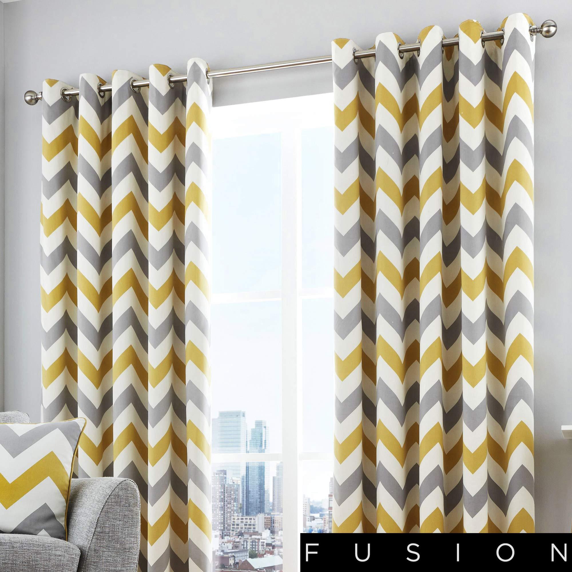 Zig Zag Ochre//Grey Eyelet Curtains Lined,Living Room Eyelet Curtains,FREE P/&P