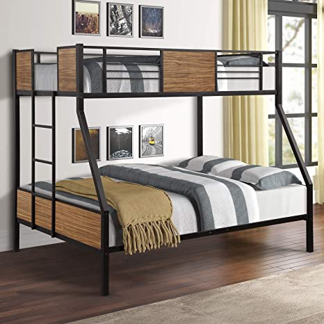 Amazon Com Twin Over Full Bunk Bed Frame Rustic Bed Frame Metal And Wood Kitchen Dining