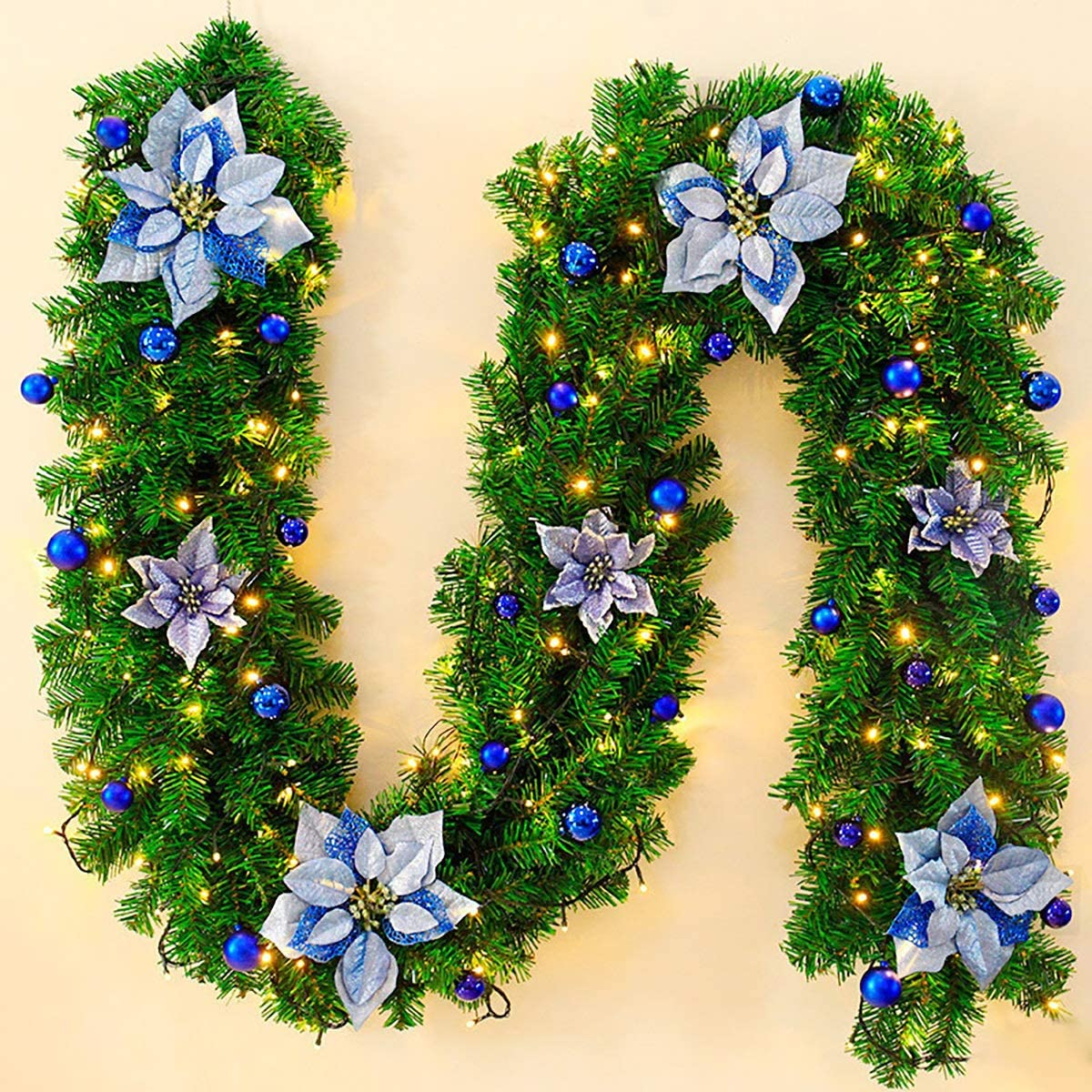 YHKGHEDD Christmas Garland Artificial Decor Max Ranking TOP14 43% OFF Stairs D 2.7M Wall -