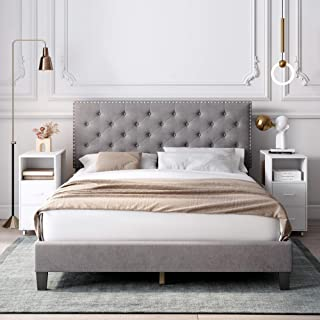 HOMECHO Full Bed Frame, Modern Upholstered Platform Bed with Headboard, Heavy Duty Bed Frame with Wood Slat Support, No Box Spring Required, Easy Assembly (Full, Grey)