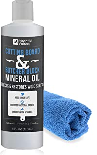 Essential Values Cutting Board & Butcher Block Mineral Oil – Perfect for Protecting & Restoring Wood Surfaces, Compatible with All Wood Types & Food Grade Safe, Proudly Made in USA (Bottle + Towel)