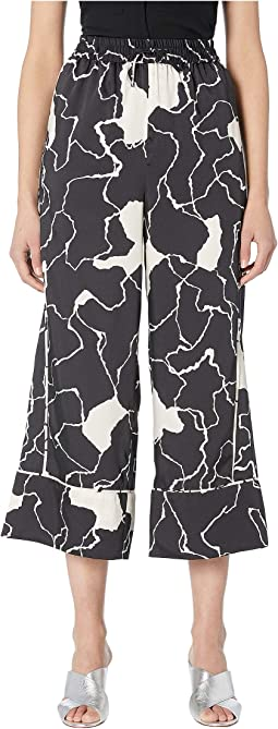 Ocean Crest Printed Twill Elastic-Waisted Pants
