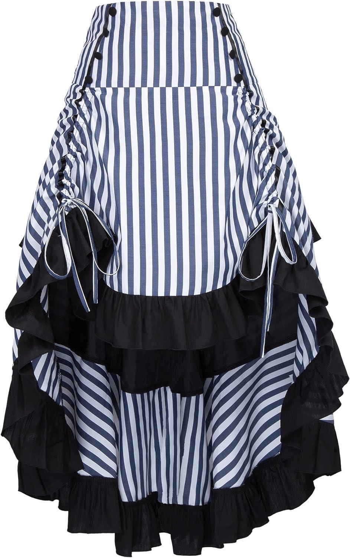 Women Gothic Victorian Bustle Skirt Steampunk Pirate Skirt BP3451 XL
