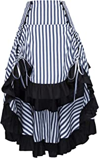 Belle Poque Striped Steampunk Gothic Victorian High Low Skirt Bustle Style