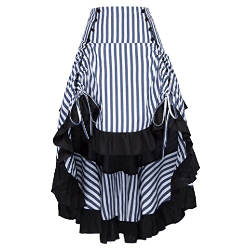 Belle Poque Striped Steampunk Gothic Victorian High Low Skirt Bustle Style 59096a9a45a0