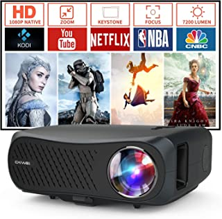 Native 1080p LED Movie Projector 7000 Lumens Full HD LCD Indoor Outdoor Home Theater 1920x1080 Native HDMI USB VGA AV Audi...