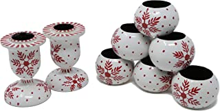 ShalinIndia Dinner Party Dinning Table Décor Set of 6 Napkin Rings and 2 Taper Candle Holders Handmade Paper Mache Art and Craft,White Red