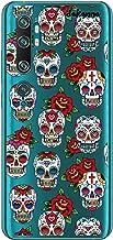 dakanna Funda para [Xiaomi Mi Note 10] de Silicona Flexible, Dibujo Diseño [Pattern Calaveras de azucar Estilo Mexicano con Flores], Color [Fondo Transparente] Carcasa Case Cover de Gel TPU