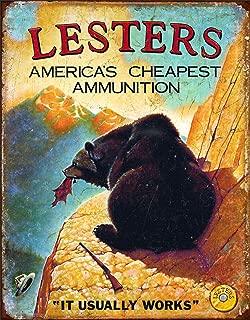 Desperate Enterprises Lesters Ammo Tin Sign, 12.5