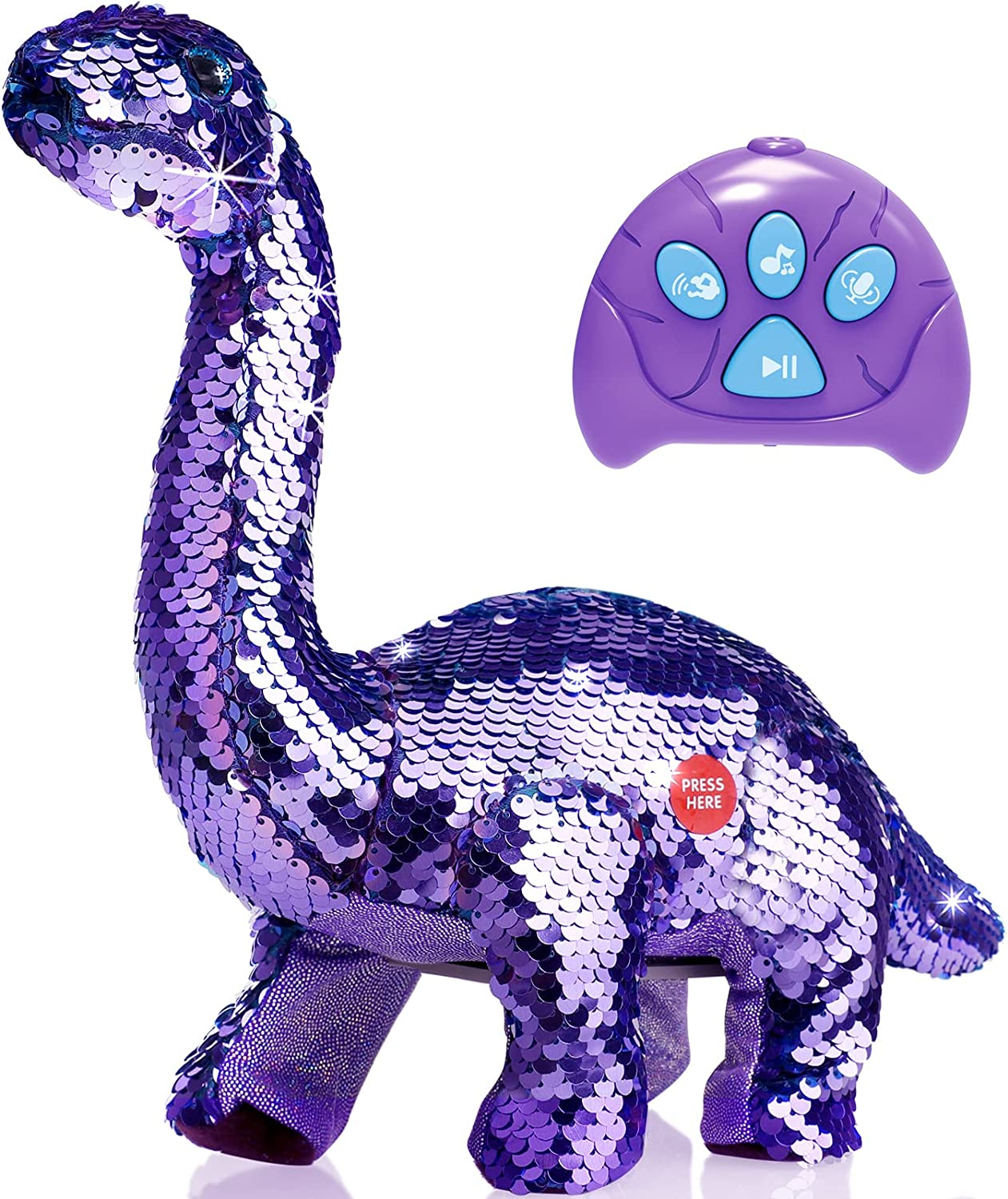 Remote Tulsa Mall half Control Reversible Sequins Dinosaur Toy Years for 2 Old