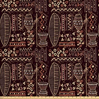 Lunarable Brown Fabric by The Yard, Image with Geometrical Shapes Artwork Print, Decorative Fabric for Upholstery and Home Accents, 1 Yard, Brown Cocoa