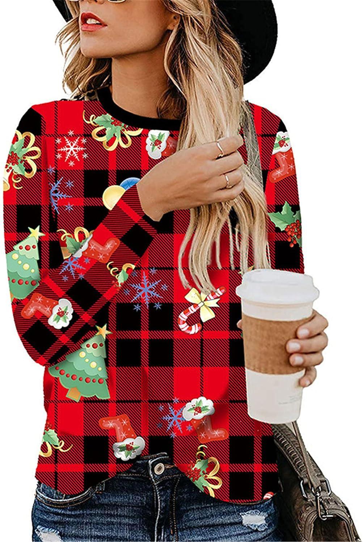 Andongnywell Women's Casual Shirts Leopard Print Tops Basic Summer Long Sleeve Fashion Loose Fit Tshirt Tunics Blouses