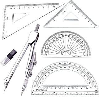 LEZDPP Stainless Steel Lightweight Professional Portable Precision Drawing Clear Scale Angle Gauge Compass Protractor