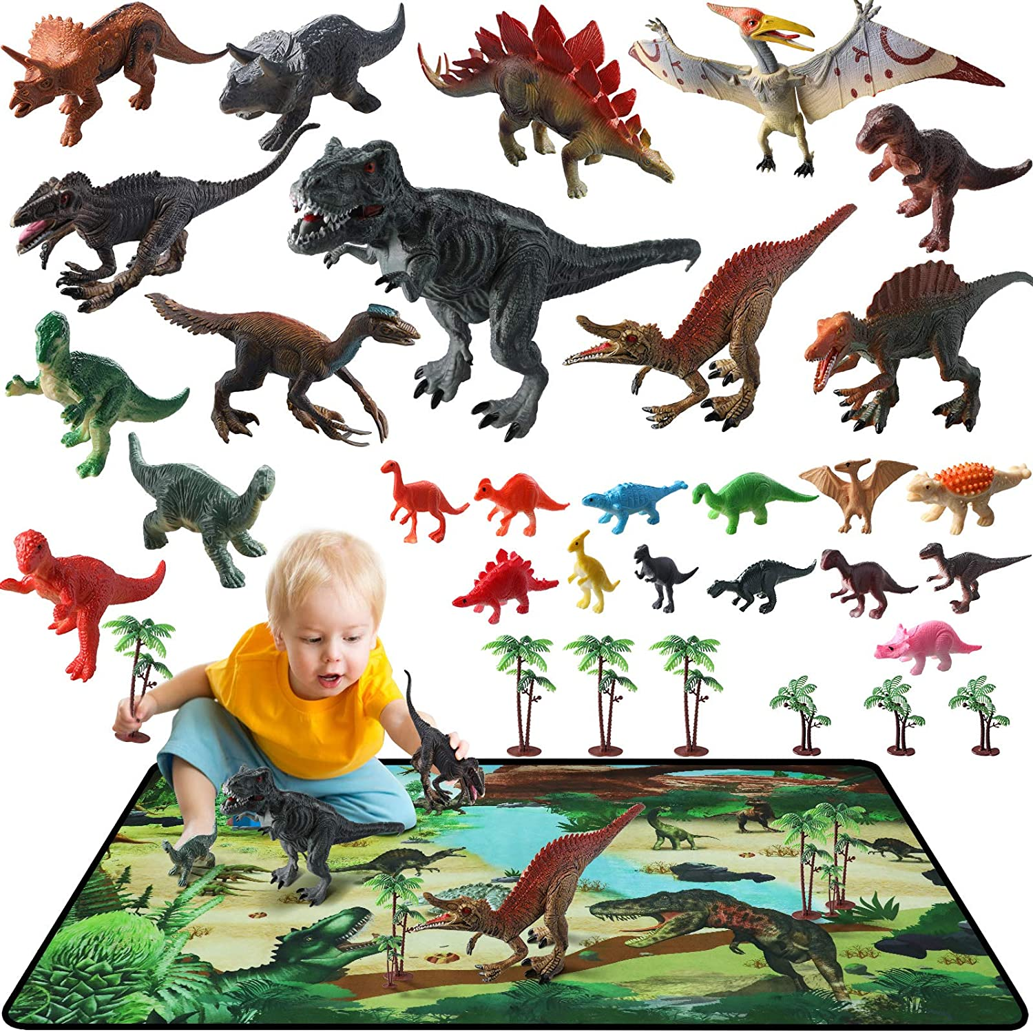 Dinosaur Toys 34 quality assurance PCS online shopping 26 with Activity Figures Realistic