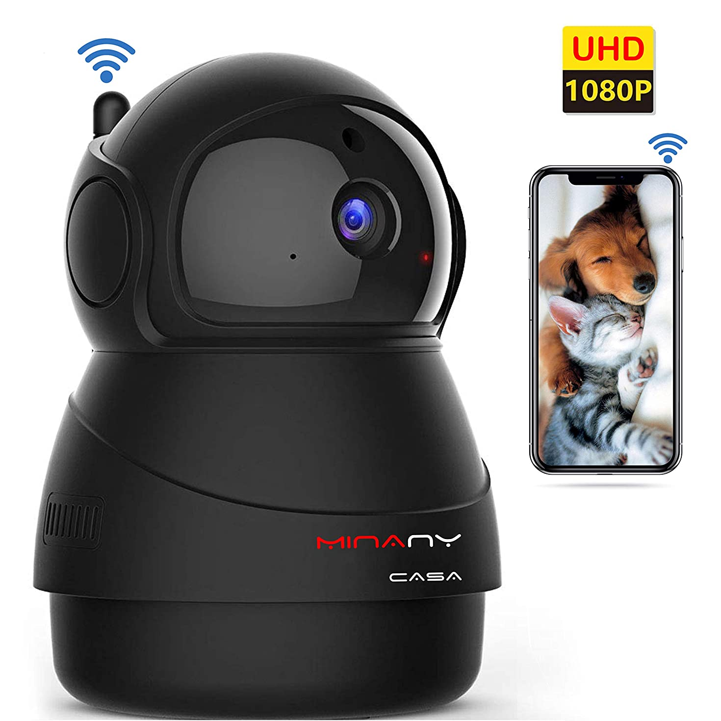 MINANY CASA Pet Camera HD1080P Wireless 360 Degree Panorama View,WiFi Indoor Cameras Night Vision Two-Way Audio Motion Detection Digital Zoom Glass Lens Technology for Pet, Baby, Nanny, Home Security
