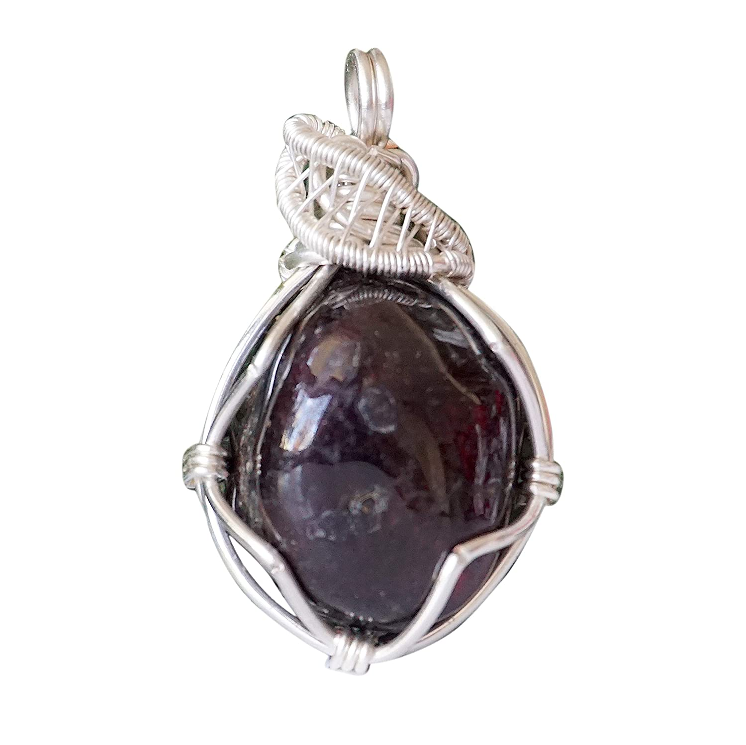 Raw Dark Garnet Necklace   Wire Wrapped Garnet Pendant Necklace   21 Inch  Sterling Silver Plated Chain   January Birthstone