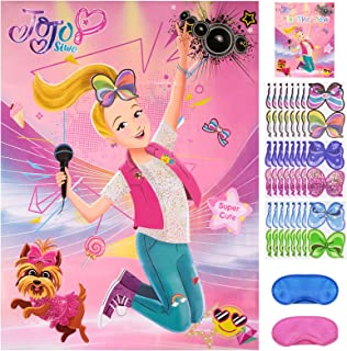 Pin The Bow On JoJo Siwa Game for Birthday Party Supplies | Party Decorations (48 Bows)