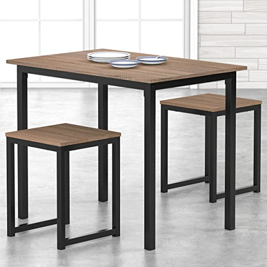 HOMURY 3 Piece Dining Table Set with Two Stools, Compact Kitchen Table for Kitchen, Dining Room, Dinette, Breakfast Nook, Industrial Brown