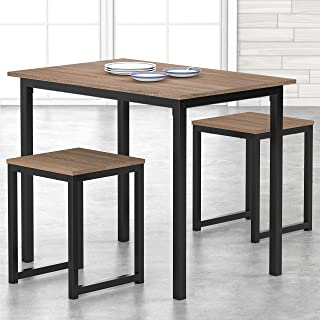 HOMURY 3 Piece Dining Table Set with Two Stools, Compact...