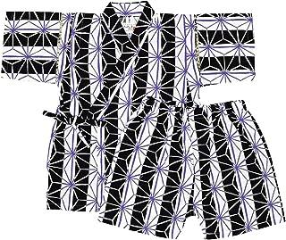 アスナロ(甚平) 甚平 男の子 子供服 麻の葉 文様 綿100% 上下 ウェストゴム
