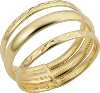 KoolJewelry 14k Yellow Gold High Polish Diamond-Cut Triple Stacked Band Minimalist Ring (10 mm)