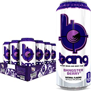 Bang Bangster Berry Energy Drink, 0 Calories, Sugar Free with Super Creatine, 16 Fl Oz (Pack of 12)