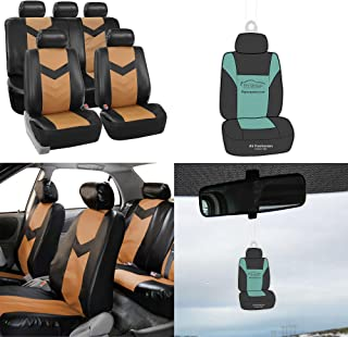FH Group PU021115 Synthetic Leather Full Set Auto Seat Covers, Tan Black Colorw Free Air Freshener - Fit Most Car, Truck, SUV, or Van
