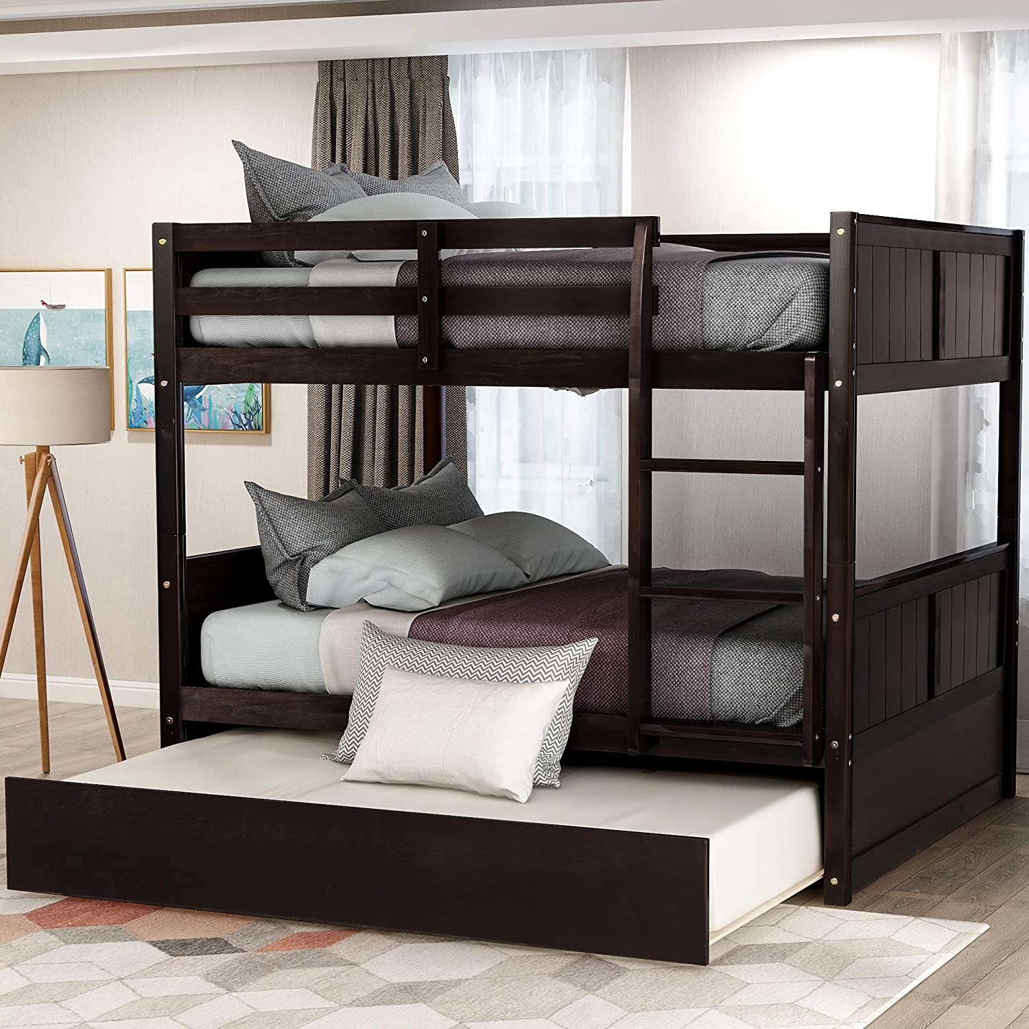 Full Over Bunk Bed for Bun Kids Teens Detachable Reservation High quality new Wood