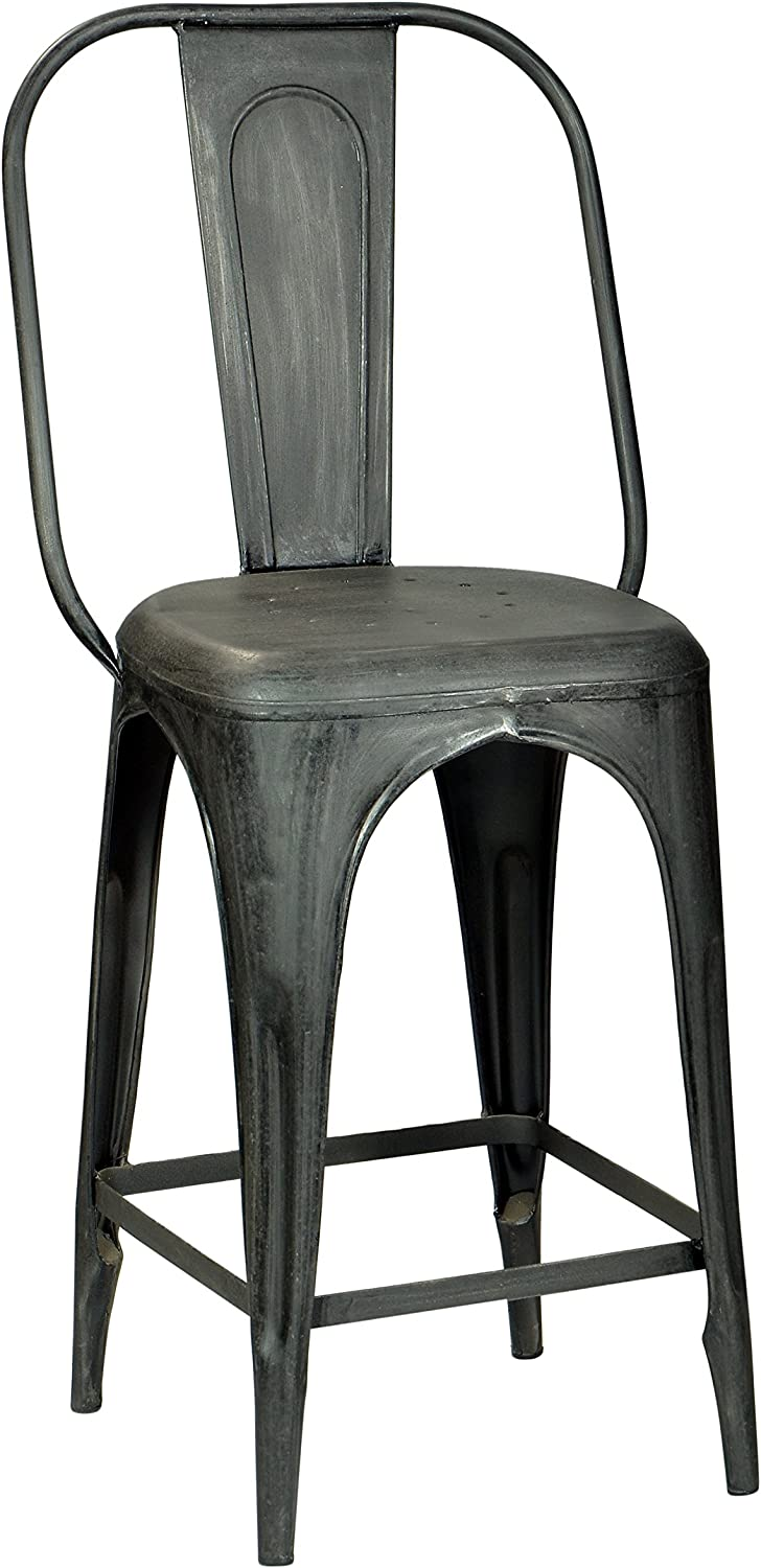 CDI Furniture TA1034RM The Industrial Collection Vintage Style Raw Metal Finish Metal Industrial High Bar Chair Stool with Back & Raw Metal Finish