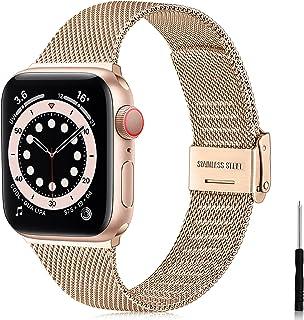 Ouwegaga Vervangende Bandje Compatibel met Apple Watch Bandje 38mm 40mm 42mm 44mm SE, Klassieke Roestvrijstalen Metalen Ba...