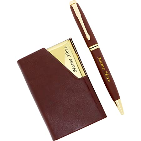 CrownLit Steel Set with Magnetic Card Holder and Metal Pen 2 in 1 Combo