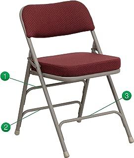 Flash Furniture HERCULES Series Premium Curved Triple Braced & Double Hinged Burgundy Fabric Metal Folding Chair